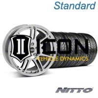 Chrome 10th Anniversary Style Wheel & Nitto Tire Kit - 17x9 (05-14 All) - AmericanMuscle Wheels KIT||29600||76011