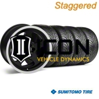 Staggered Black SC Style Wheel & Sumitomo Tire Kit - 17x8/9 (87-93; Excludes 93 Cobra) - AmericanMuscle Wheels KIT||10090||10078||63010