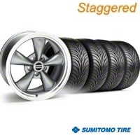 Staggered Bullitt Anthracite Wheel & Sumitomo Tire Kit - 18x9/10 (05-14 GT, V6) - American Muscle Wheels 28263||28266||63008||63009||KIT