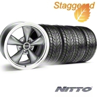 Staggered Bullitt Anthracite Wheel & NITTO Tire Kit - 18x9/10 (05-14) - American Muscle Wheels 28263||28266||63008||63009||KIT