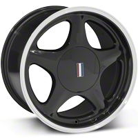 Black Pony Wheel w/Machined Lip - 17x10 (87-93; Excludes 93 Cobra) - AmericanMuscle Wheels 99383