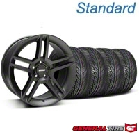 Matte Black 2010 Style GT500 Wheel & General Tire Kit - 19x8.5 (05-14 All) - AmericanMuscle Wheels KIT99268||63106