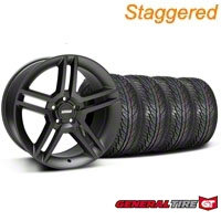 Staggered Matte Black 2010 Style GT500 Wheel & General Tire Kit - 19x8.5/10 (05-14 All) - AmericanMuscle Wheels KIT99268||99269||63106||63107