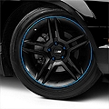WheelBands Kit - Black w/ Grabber Blue Insert (79-14 All) - AmericanMuscle Wheels WB-RB-SB