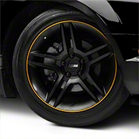 WheelBands Kit - Black w/ Yellow Insert (79-14 All) - AmericanMuscle Wheels WB-RB-YL