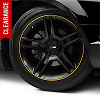 WheelBands Kit - Black w/ Yellow Insert (79-14 All) - American Muscle Wheels WB-RB-YL