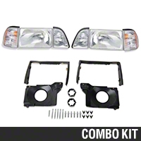 Stock OE Headlights and Adjusting Plate Kit (87-93 All) - AM Lights 94324||97003