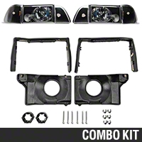 Black Headlights and Adjusting Plate Kit (87-93 All) - AM Lights 42014||97003