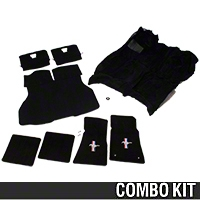 Floor Carpet, Hatch Carpet and Pony Logo Floor Mat Kit - Black (87-93 All) - AM Restoration 012321||3294-801||3296-801||50102||50104||93000