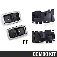 Interior Door Handle and Bezel Kit - Black/Chrome (79-93 All) - AM Restoration 17543||17544||87209||94464